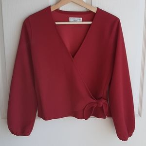 Madewell Stretch Red Crepe Wrap Top Blouse Size XS